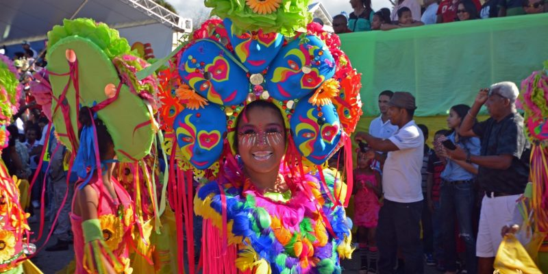 colorful carnival woman in puerto plata, dominican republic