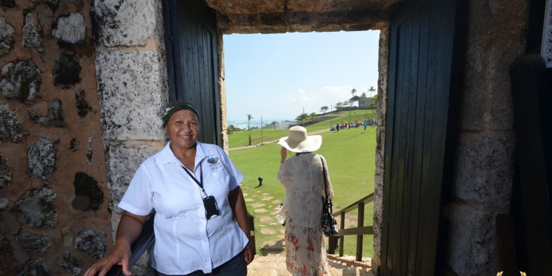 tour guide greets visitors to the San Felipe Port