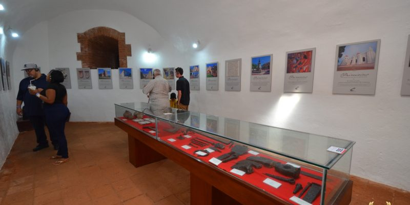 Interior exhibit of ancient weapons
