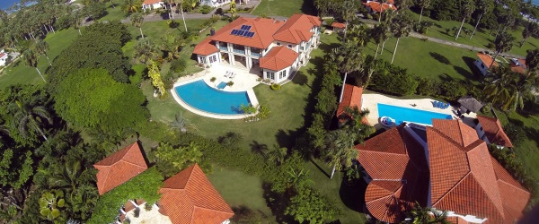a birds eye view vista of the 4 villas