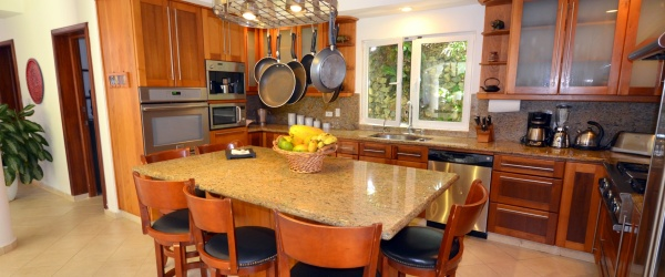 custom design kitchen with overhanging pan holder
